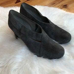 Eileen Fisher Gray Suede Bootie Heels 8.5